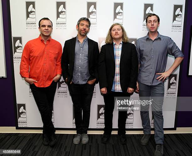Singer Samuel T Herring drummer Michael Lowry musician William Cashion and musician Gerrit Welmers of Future Islands at Spotlight Future Islands at...