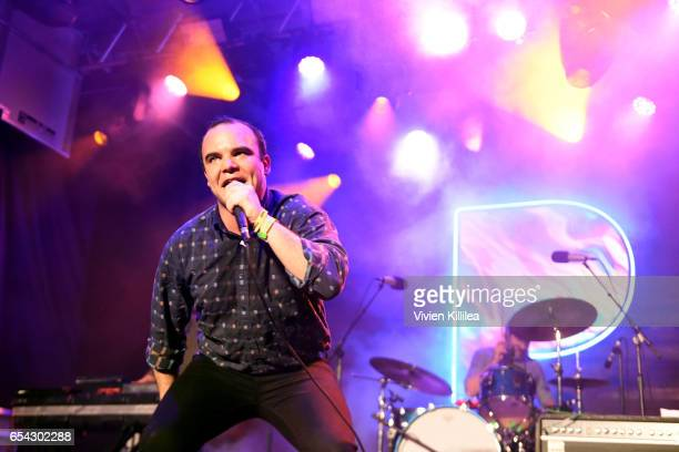 Singer Samuel T Herring Gerrit Welmers and William Cashion of Future Islands perform Pandora at SXSW 2017 on March 16 2017 in Austin Texas
