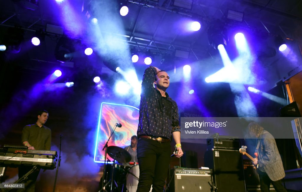 Singer Samuel T. Herring, Gerrit Welmers and William Cashion of Future Islands perform Pandora at SXSW 2017 on March 16, 2017 in Austin, Texas.