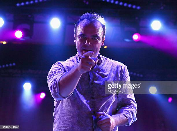 Singer Samuel T Herring of Future Islands performs onstage during day 2 of the 2015 Life is Beautiful festival on September 26 2015 in Las Vegas...