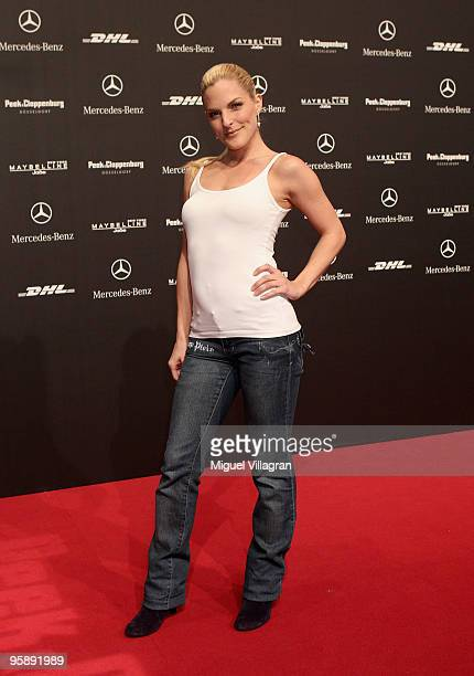Singer Sandy Moelling attends the Sam Frenzel Fashion Show during the MercedesBenz Fashion Week Berlin Autumn/Winter 2010 at the Bebelplatz on...