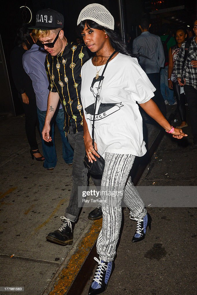 Singer Santi White leaves the Dream Downtown hotel on August 25, 2013 in New York City.