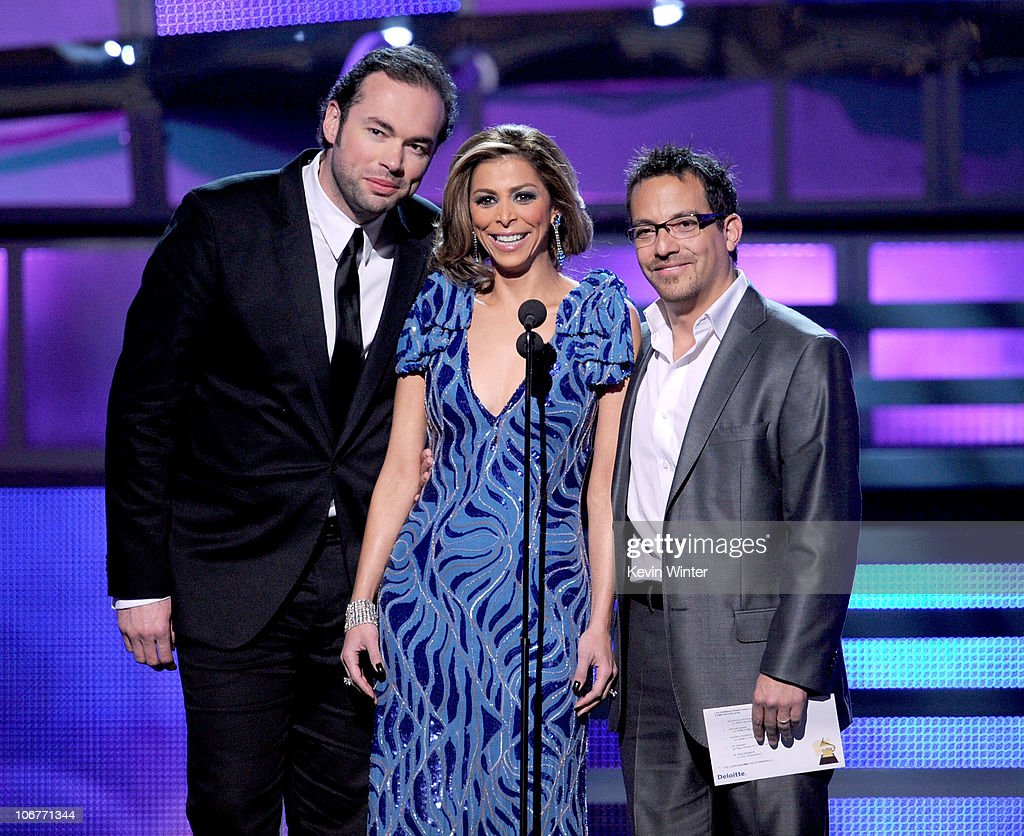 Singer Santiago Cruz, TV personality Lourdes Stephen, and singer Juan Fernando Velasco present an award onstage during the 11th annual Latin GRAMMY Awards at the Mandalay Bay Events Center on November 11, 2010 in Las Vegas, Nevada.