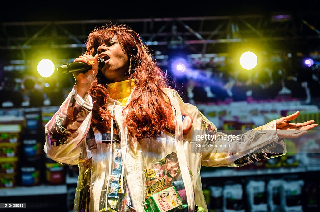 Singer <a gi-track='captionPersonalityLinkClicked' href=/galleries/search?phrase=Santigold&family=editorial&specificpeople=4975985 ng-click='$event.stopPropagation()'>Santigold</a> performs live on stage during a concert at Huxleys Neue Welt on June 28, 2016 in Berlin, Germany.
