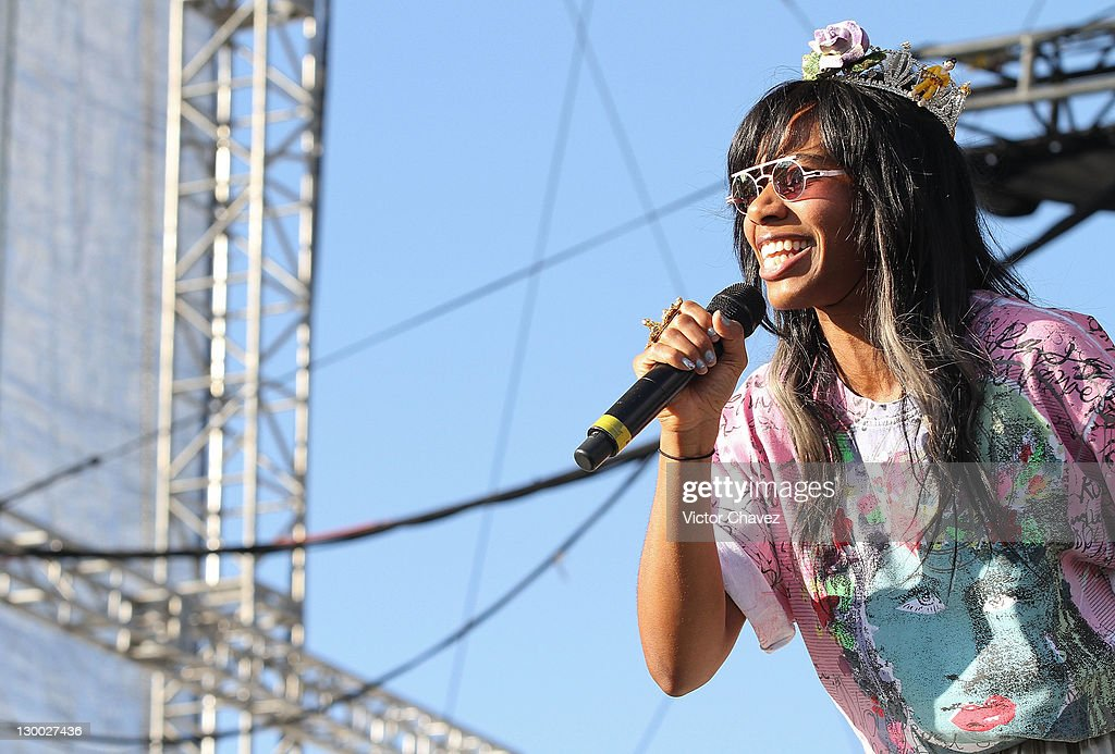 Singer Santigold performs on stage during the Corona Capital Fest 2011 at Foro Sol on October 15 2011 in Mexico City Mexico