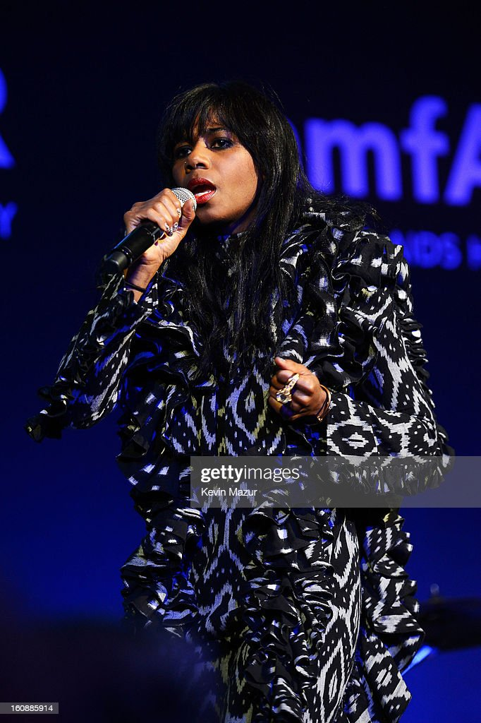 Singer <a gi-track='captionPersonalityLinkClicked' href=/galleries/search?phrase=Santigold&family=editorial&specificpeople=4975985 ng-click='$event.stopPropagation()'>Santigold</a> performs onstage at the amfAR New York Gala to kick off Fall 2013 Fashion Week at Cipriani Wall Street on February 6, 2013 in New York City.