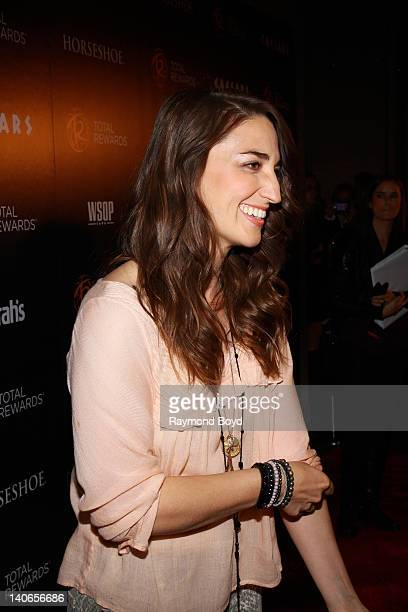 Singer Sara Bareilles is interviewed on the red carpet at the Escape To Total Rewards concert at Union Station in Chicago Illinois on MARCH 01 2012