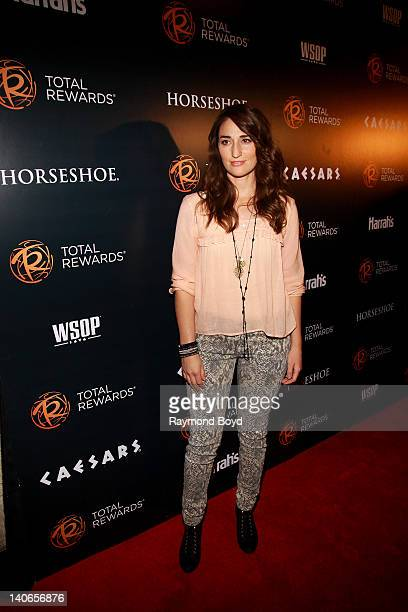 Singer Sara Bareilles poses for photos on the red carpet at the Escape To Total Rewards concert at Union Station in Chicago Illinois on MARCH 01 2012