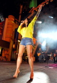 Singer Sara Evans performs onstage during the Academy of Country Music concerts on Fremont at the Fremont Street Experience on April 1 2011 in Las...