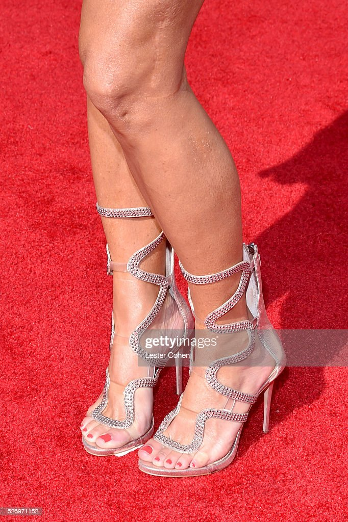 Singer Sara Evans, shoe detail, attends the 2016 American Country Countdown Awards at The Forum on May 1, 2016 in Inglewood, California.