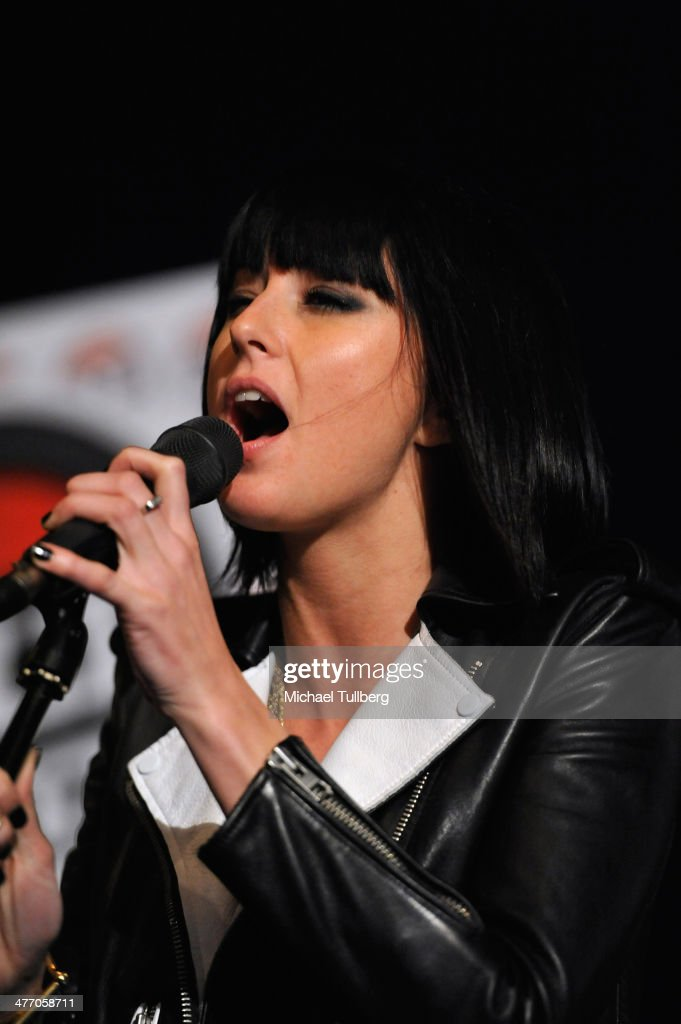 Singer Sarah Barthel of Phantogram performs at 987 FM's Penthouse Party Pad at Hollywood Tower on March 6 2014 in Los Angeles California