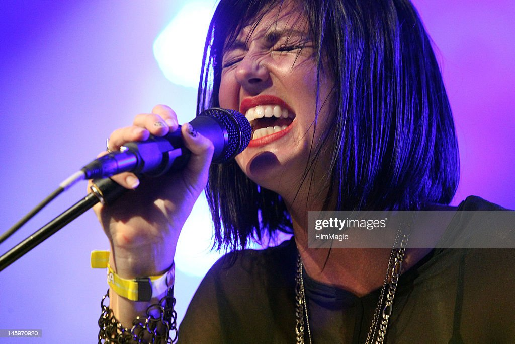 Singer Sarah Barthel of Phantogram performs onstage at The Other Tent during Day 1 of Bonaroo 2012 on June 7 2012 in Manchester Tennessee