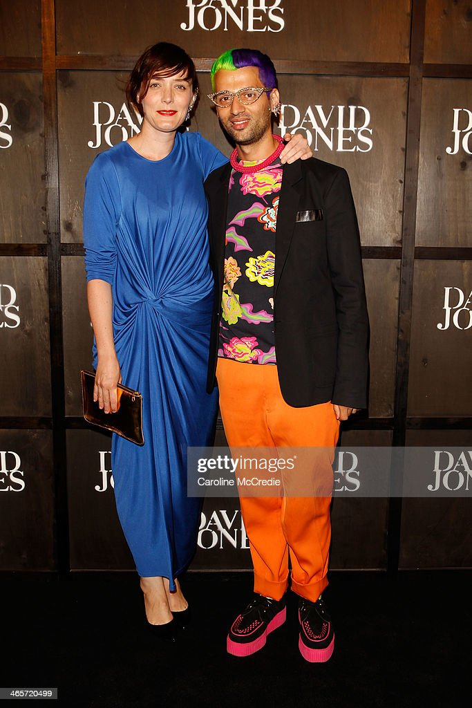 Singer Sarah Blasko and designer Gary Bigeni arrives at the David Jones A/W 2014 Collection Launch at the David Jones Elizabeth Street Store on January 29, 2014 in Sydney, Australia.