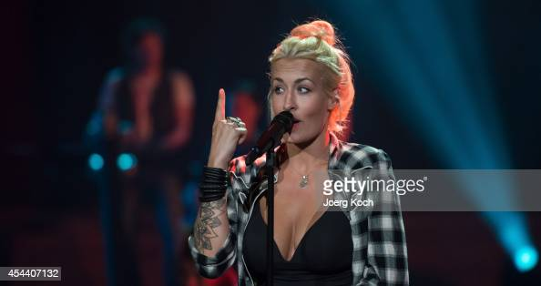 Singer Sarah Conner performs during the TVShow 'Gabalier Die VolksRock'n'RollShow' on August 30 2014 in Fuessen Germany
