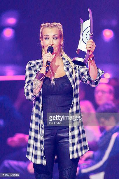 Singer Sarah Connor accepts her award during the Echo Award 2016 show on April 07 2016 in Berlin Germany