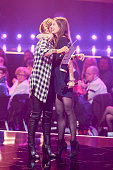 Singer Sarah Connor receives her award from actress Alexandra Maria Lara during the Echo Award 2016 show on April 07 2016 in Berlin Germany