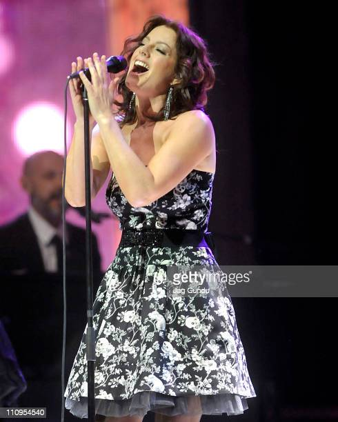 Singer Sarah McLachlan on stage at the 2011 Juno Awards at the Air Canada Centre on March 27 2011 in Toronto Canada