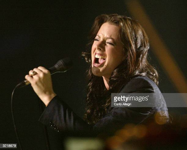 Singer Sarah McLachlan performs onstage at the 2004 Juno Awards at Rexall Place on April 4 2004 in Edmonton Alberta Canada The Junos celebrate...