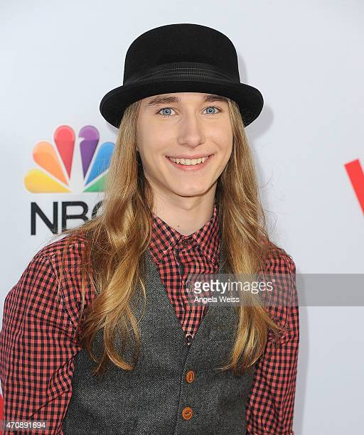 Singer Sawyer Fredericks arrives at NBC's 'The Voice' Season 8 red carpet event at Pacific Design Center on April 23 2015 in West Hollywood California