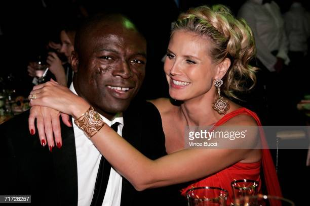 Singer Seal and actress Heidi Klum pose at the Governor's Ball after the 58th Annual Primetime Emmy Awards at the Shrine Auditorium on August 27 2006...