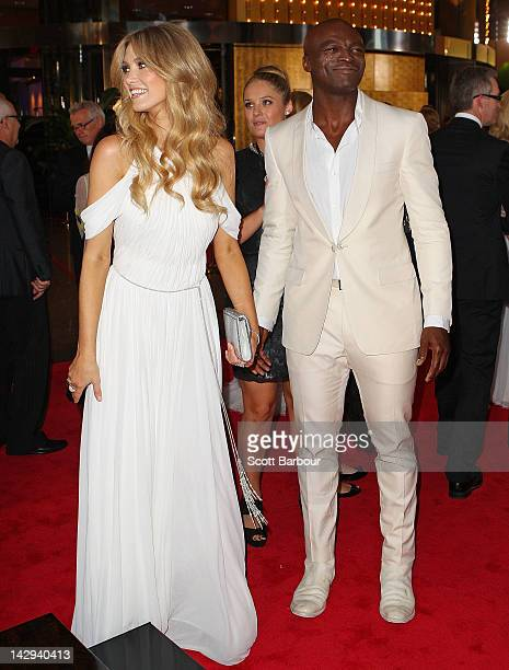 Singer Seal and Delta Goodrem arrive at the 2012 Logie Awards at the Crown Palladium on April 15 2012 in Melbourne Australia