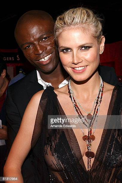 Singer Seal and model Heidi Klum attend the Distinctive Assets Gift Lounge at the World Music Awards at the Thomas Mack Convention Center on...