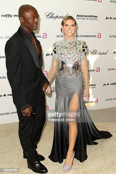 Singer Seal and TV personality Heidi Klum arrive at the 19th Annual Elton John AIDS Foundation's Oscar viewing party held at the Pacific Design...