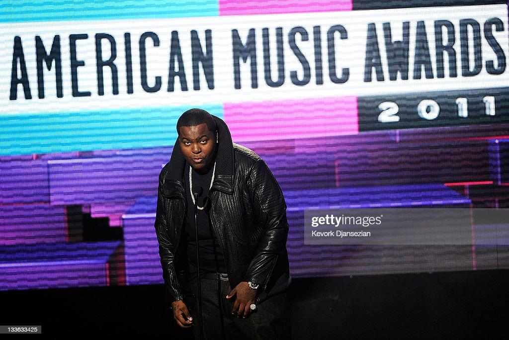 Singer Sean Kingston speaks onstage at the 2011 American Music Awards held at Nokia Theatre LA LIVE on November 20 2011 in Los Angeles California