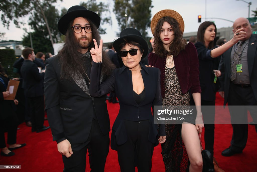 Singer Sean Lennon, musician Yoko Ono and model Charlotte Kemp Muhl attend the 56th GRAMMY Awards at Staples Center on January 26, 2014 in Los Angeles, California.
