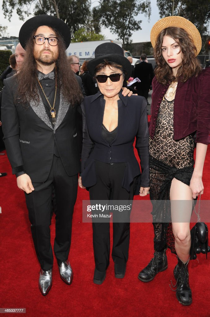 Singer <a gi-track='captionPersonalityLinkClicked' href=/galleries/search?phrase=Sean+Lennon&family=editorial&specificpeople=206368 ng-click='$event.stopPropagation()'>Sean Lennon</a>, musician <a gi-track='captionPersonalityLinkClicked' href=/galleries/search?phrase=Yoko+Ono&family=editorial&specificpeople=202054 ng-click='$event.stopPropagation()'>Yoko Ono</a> and model <a gi-track='captionPersonalityLinkClicked' href=/galleries/search?phrase=Charlotte+Kemp+Muhl&family=editorial&specificpeople=5516602 ng-click='$event.stopPropagation()'>Charlotte Kemp Muhl</a> attend the 56th GRAMMY Awards at Staples Center on January 26, 2014 in Los Angeles, California.