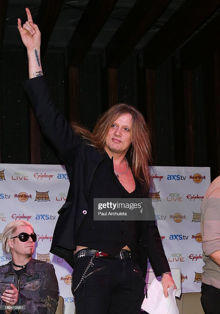 Singer <a gi-track='captionPersonalityLinkClicked' href=/galleries/search?phrase=Sebastian+Bach&family=editorial&specificpeople=583692 ng-click='$event.stopPropagation()'>Sebastian Bach</a> attends the 5th annual Revolver Golden Gods Awards nominee announcements at the Hard Rock Cafe Hollywood on January 30, 2013 in Hollywood, California.