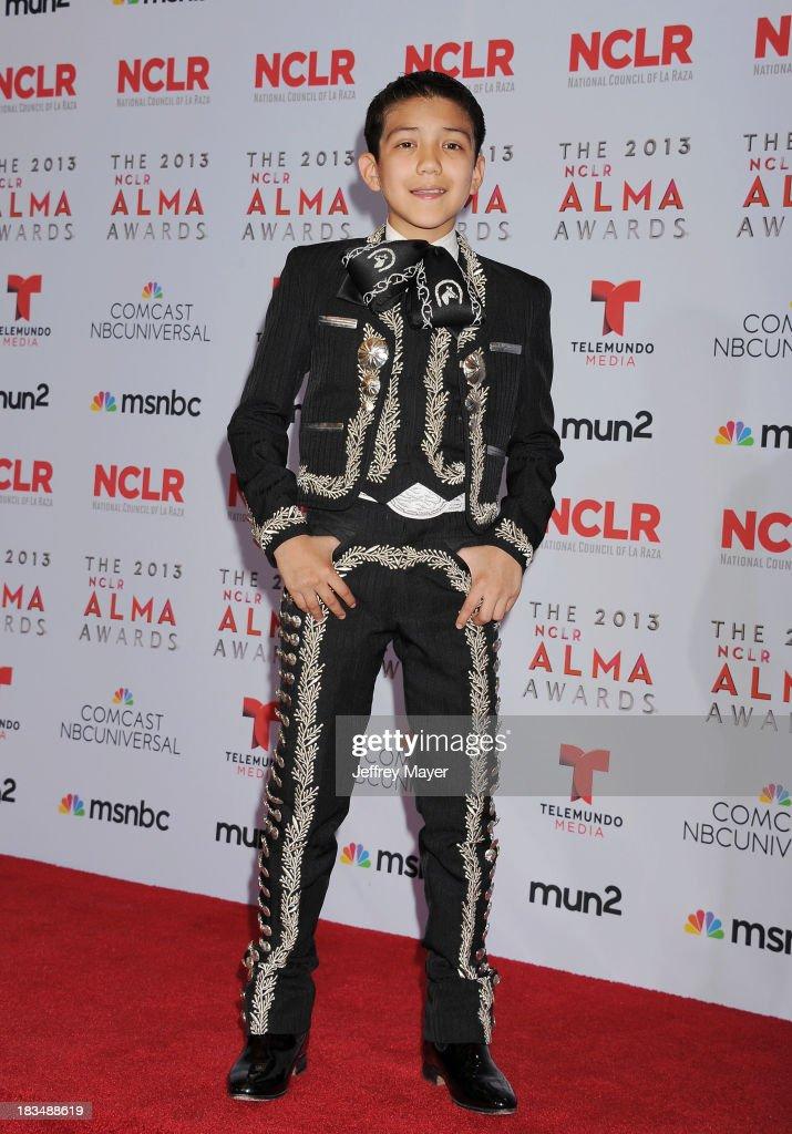 Singer Sebastian de la Cruz poses in the press room at the 2013 NCLA ALMA Awards at Pasadena Civic Auditorium on September 27, 2013 in Pasadena, California.