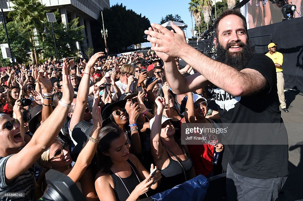 Singer Sebu Simonian of Capital Cities performs on the Marilyn Stage during day 1 of the 2014 Budweiser Made in America Festival at Los Angeles Grand...