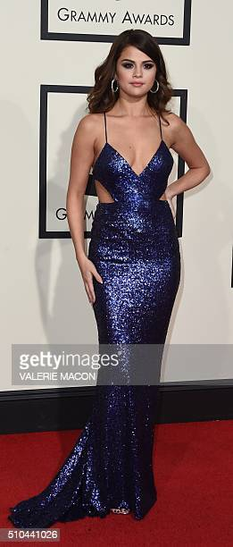 Singer Selena Gomez arrives on the red carpet during the 58th Annual Grammy Music Awards in Los Angeles February 15 2016 AFP PHOTO/ Valerie MACON /...