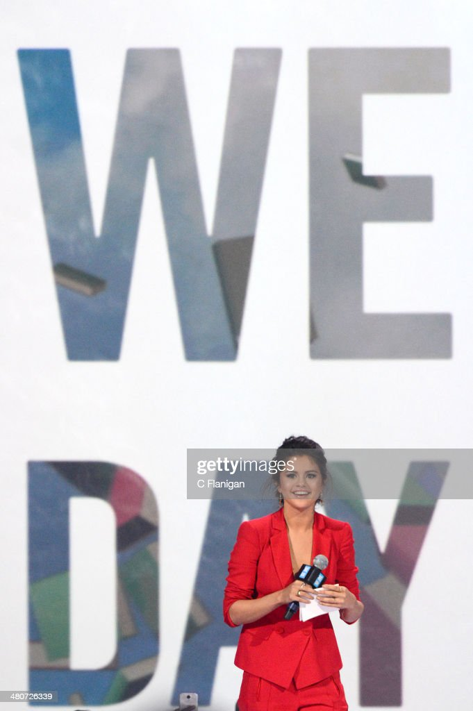 Singer <a gi-track='captionPersonalityLinkClicked' href=/galleries/search?phrase=Selena+Gomez&family=editorial&specificpeople=4295969 ng-click='$event.stopPropagation()'>Selena Gomez</a> onstage during the 1st Annual 'We Day' California at ORACLE Arena on March 26, 2014 in Oakland, California.