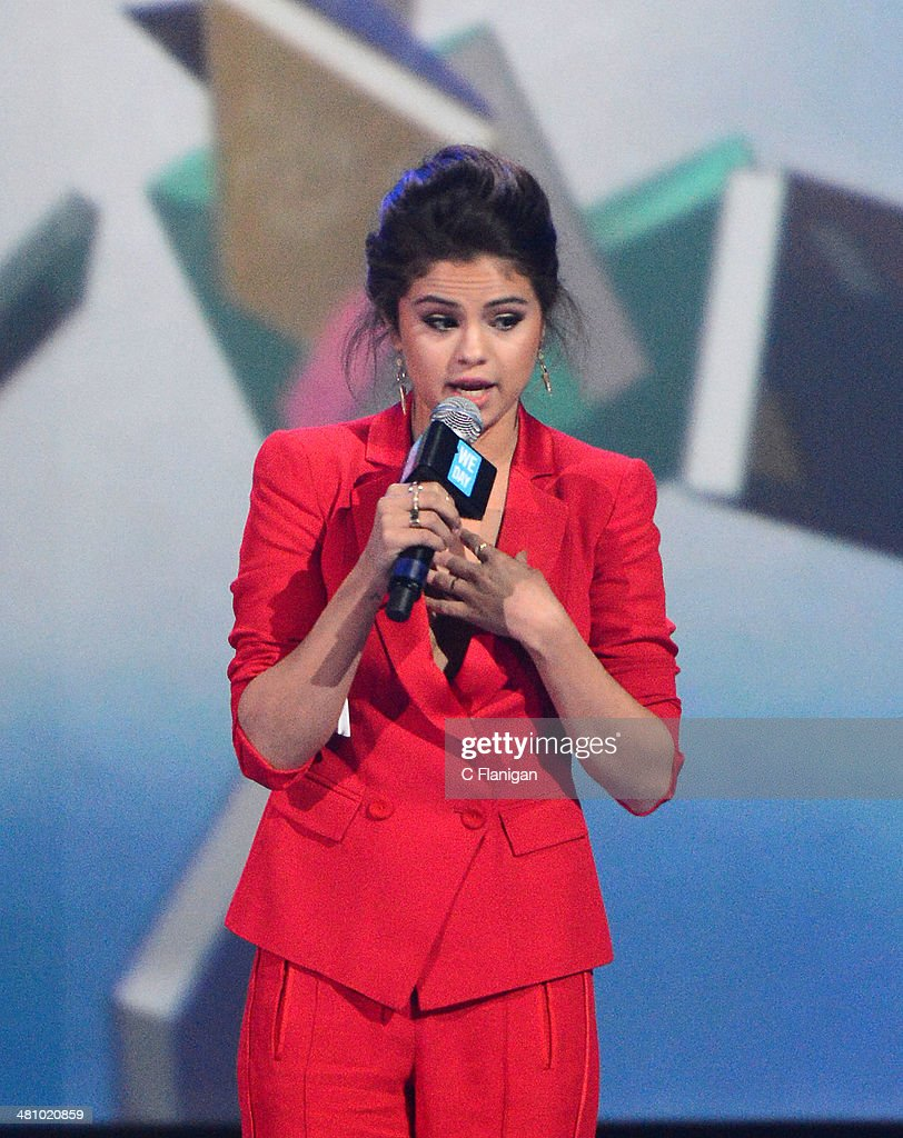 Singer Selena Gomez onstage during the 1st Annual 'We Day' California at ORACLE Arena on March 26, 2014 in Oakland, California.