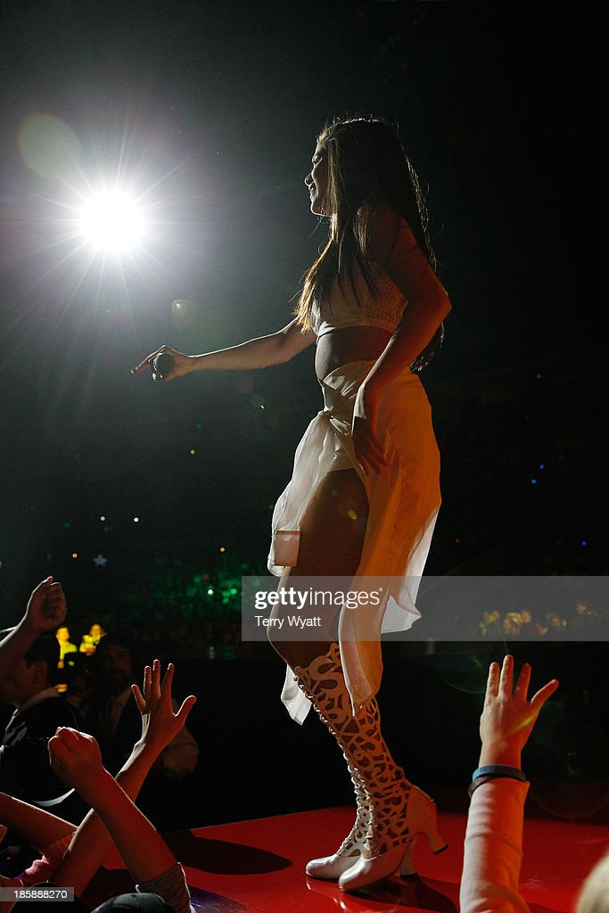 Singer Selena Gomez performs at the Bridgestone Arena on October 25, 2013 in Nashville, Tennessee.