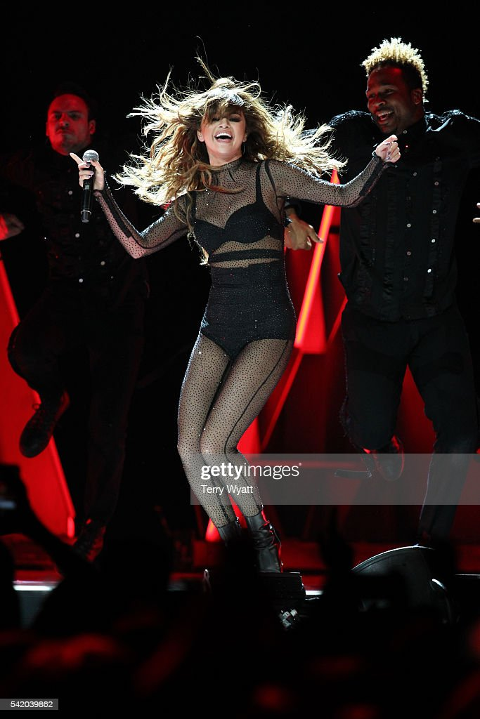 Singer Selena Gomez performs during her 'Revival Tour' at Bridgestone Arena on June 21 2016 in Nashville Tennessee