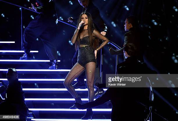 Singer Selena Gomez performs onstage during the 2015 American Music Awards at Microsoft Theater on November 22 2015 in Los Angeles California