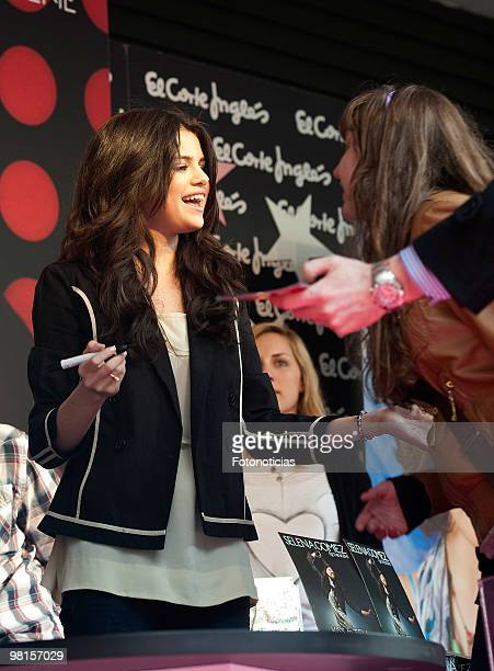 Singer Selena Gomez signs copies of her new album 'Kiss Tell' at El Corte Ingles store on March 30 2010 in Madrid Spain