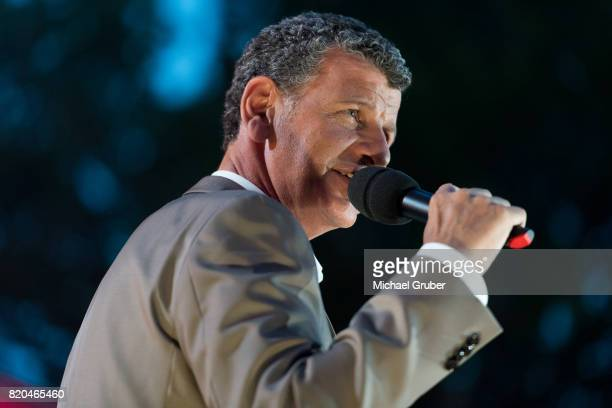 Singer Semino Rossi performs on stage during the rehearsal for the 'Starnacht am Woerthersee' at Woertherseebuehne on July 21 2017 in Klagenfurt...