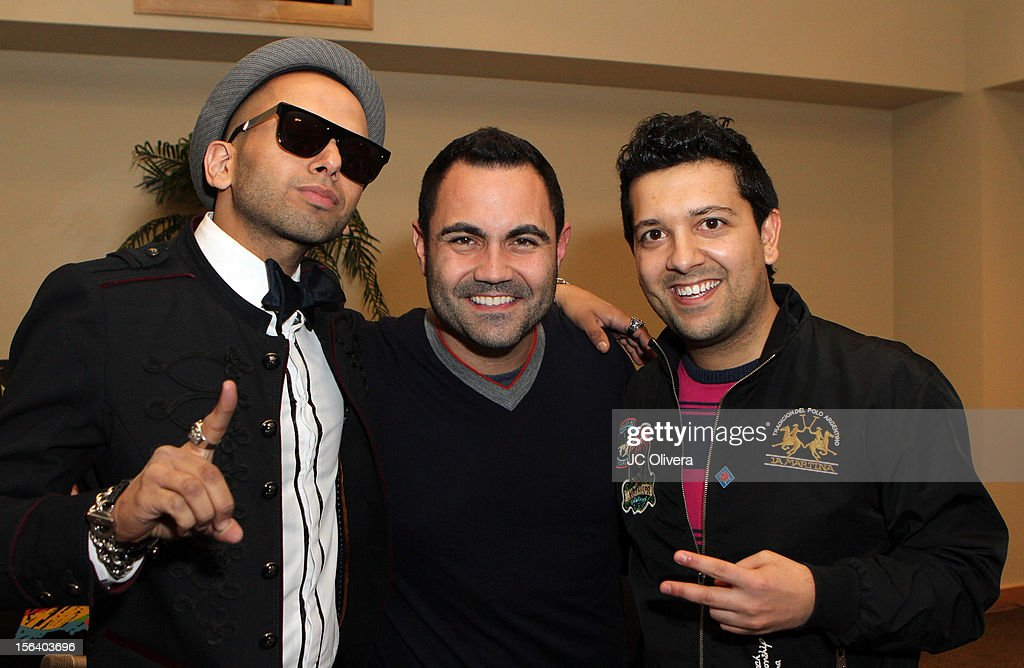 Singer Sensato, radio personality <a gi-track='captionPersonalityLinkClicked' href=/galleries/search?phrase=Enrique+Santos+-+Personnalit%C3%A9+de+la+t%C3%A9l%C3%A9vision&family=editorial&specificpeople=15214264 ng-click='$event.stopPropagation()'>Enrique Santos</a> and DJ Sak Noel attend the 13th annual Latin GRAMMY Awards Univision Radio Remotes held at the Mandalay Bay Events Center on November 14, 2012 in Las Vegas, Nevada.
