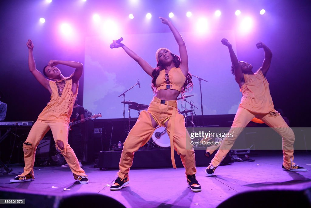 Singer Serayah (C) performs onstage during the GIRL CULT Festival at The Fonda Theatre on August 20, 2017 in Los Angeles, California.