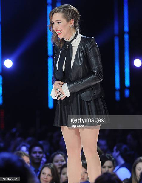Singer Serena Ryder performs on stage at the 2014 Juno Awards held at the MTS Centre on March 30 2014 in Winnipeg Canada