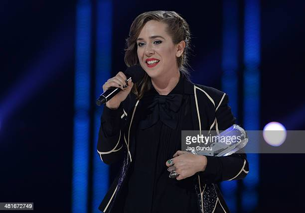 Singer Serena Ryder wins Artist of the Year and Song writer of the Year at the 2014 Juno Awards held at the MTS Centre on March 30 2014 in Winnipeg...