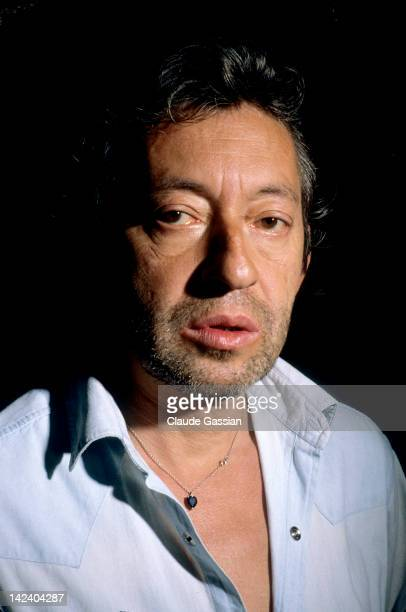 Singer Serge Gainsbourg is photographed for Self Assignment on September 12 1984 in rue de Verneuil Paris France