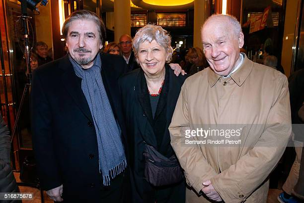 Singer Serge Lama with Actor Michel Bouquet and his wife actress Juliette Carre attend the 'L'Etre ou pas' Theater play at Theatre Antoine on March...