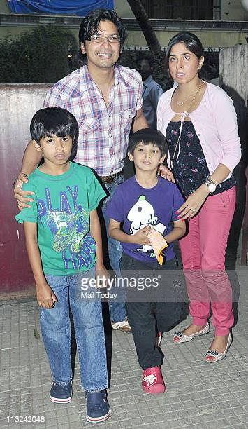 Singer Shaan with his wife and children during the screening of the film 'Stanley Ka Dabba' at Ketnav in Mumbai