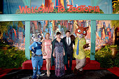 Singer Shakira and actors Ginnifer Goodwin and Jason Bateman pose with Nick Wilde and Judy Hopps characters during the Los Angeles premiere of Walt...