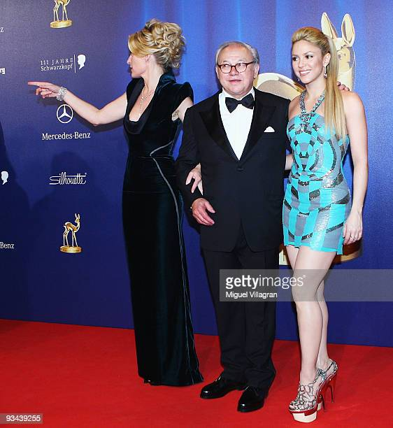 Singer Shakira and Hubert Burda with wife actress Maria Furtwaengler arrive to the Bambi Awards 2009 at the Metropolis Hall at the Filmpark...